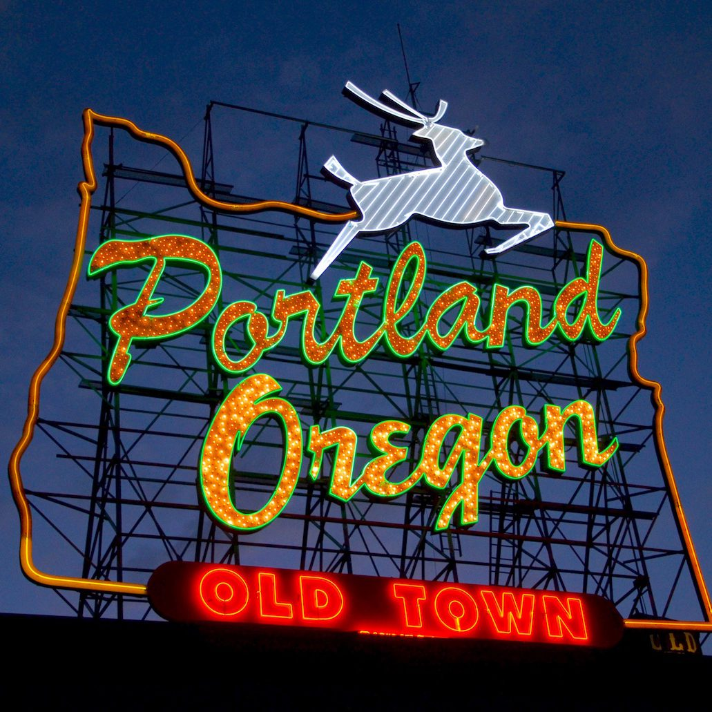 Portland's White Stag sign in September 2016. Photo by Steve Morgan.